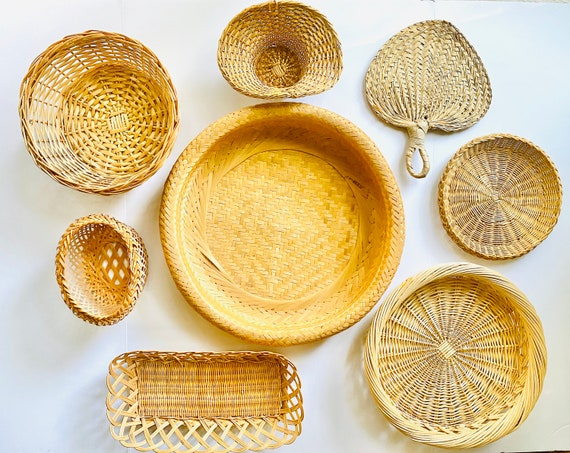 Set of 8 Vintage Decorative Wicker and Woven Straw Baskets and Fan for Wall Decor or Storage