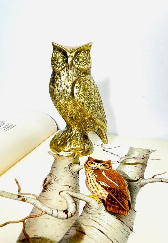 Vintage Mid-Century Brass Owl