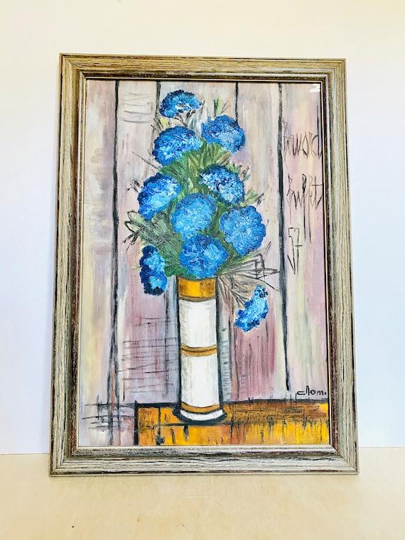 Vintage Mid-Century Bernard Buffet Blue Le Bouquet Print Wall Art