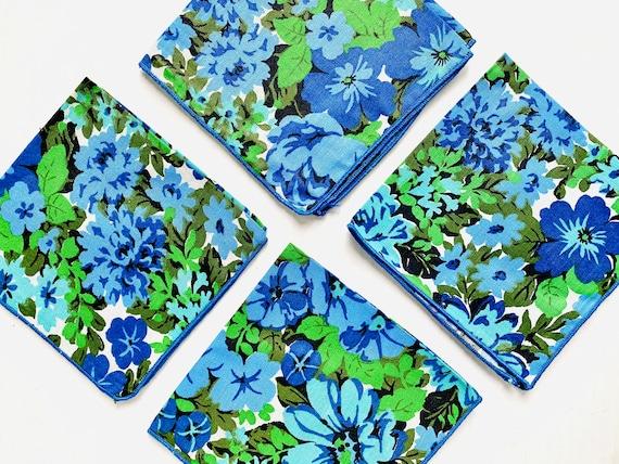 Set of 4 Vintage Mid-Century Mod Floral Cloth Napkins