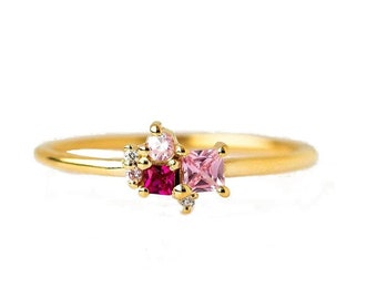 Ruby Diamond Ring, Cluster Diamond Ring, Cluster Gemstones Ring, Personalized Birthstone Rings, Pink Sapphire Ring, Ruby Ring