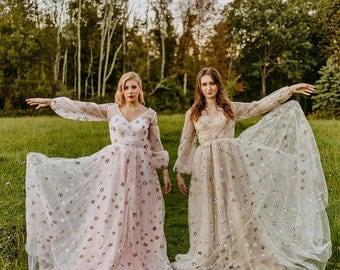 Celestial Boho Dress| Star Dress| Sample
