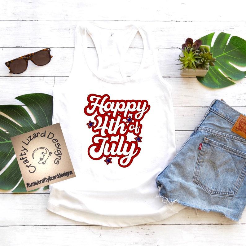 Sticker Tea Towel Wine Bag Decal Tank Coffee Mug Happy 4th of July T-shirt Pint Glass Koozie Wine Glass