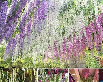 Artificial wisteria vine hanging Garland silk 3 colours x6/x12/x24 pack