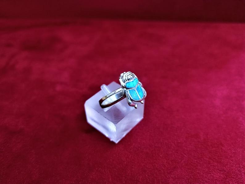 Sterling Silver Opal Ring Opal Scarab Ring Opal Scarab Jewelry