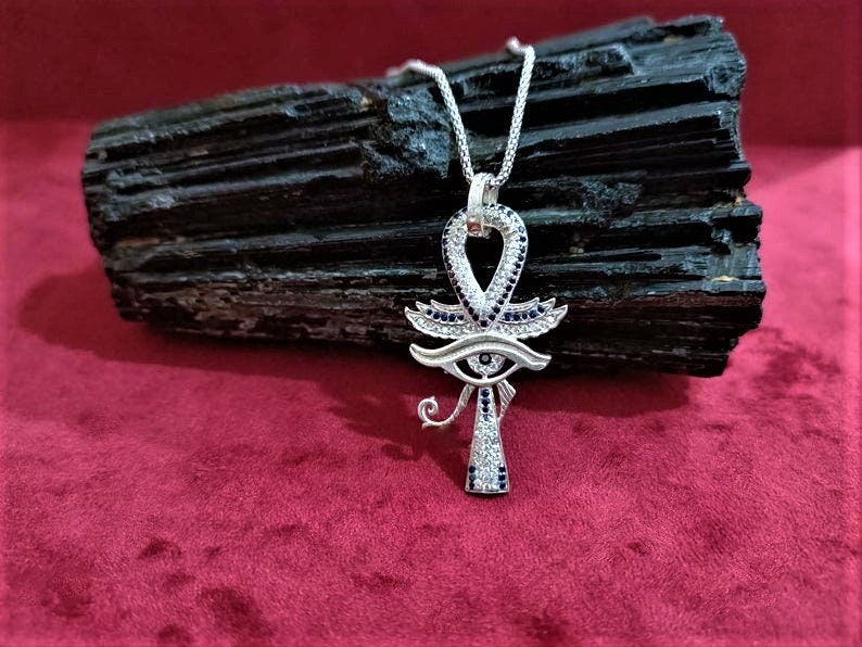 Ancient Egyptian Ankh Jewelry Sterling Silver Ankh Pendant Key of The Life Beautiful Ankh Eye Of Horus Necklace