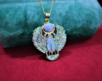 Gold Opal Winged Scarab Necklace , Real Gold Scarab Pendant , Scarab Jewelry
