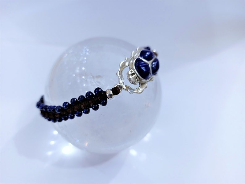 Lapis Lazuli Scarab Bracelet Scarab Jewelry Adjustable Sterling Silver Lapis Inlay Beads Bracelet