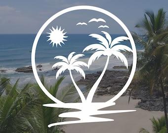 Beach Life turtle vinyl sticker sand vacation tropical California Florida Mexico