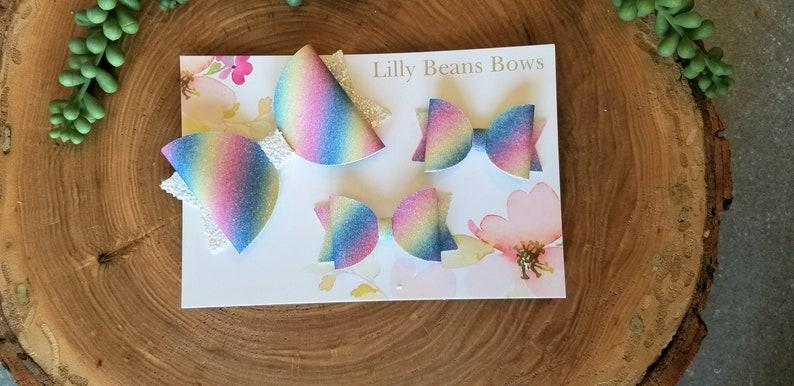 Rainbow stripe bow rainbow baby bow Mini Pastel Rainbow Glitter Bow Rainbow stripe baby bow Glitter baby bow pigtail bows