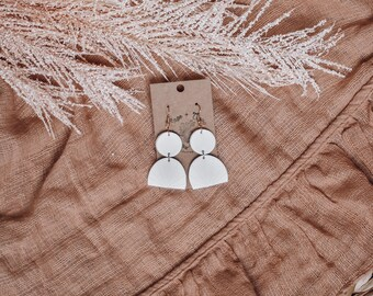 Purple Polymer Clay Earrings Geometric Minimalist Art Deco Statement The Sunny/'s in Plum