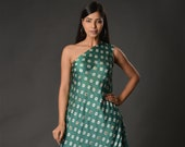 Green one off shoulder modal satin drape top with pants