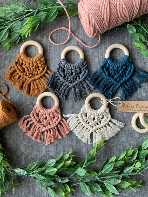 Teether and car seat accessory loop bundle  macrame teether  boho baby  baby gift  car seat toy  wood teether  wooden teether