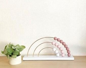 Medium/Rainbow abacus/rainbow toy/Montessori toy/first birthday/rainbow decor/nursery decor/wood toy/neutral