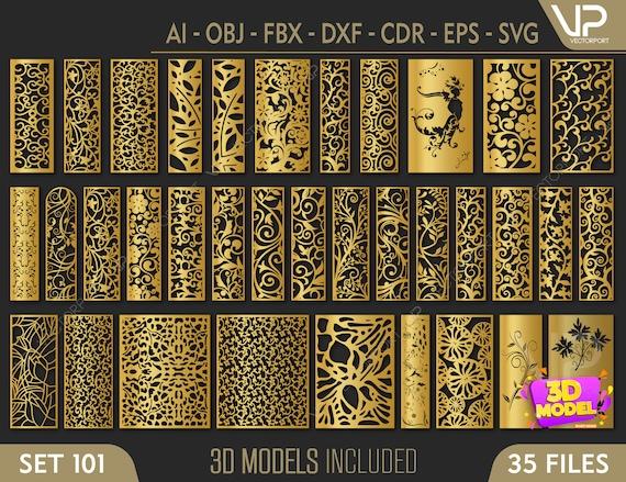 35 Modèles 3D modernes et fichiers vectoriels. | fichier cnc, fichier de coupe laser | Dxf, Svg, Max, Cdr, Eps, FBX, DWG, AI, 3DS | Ensemble 101 |