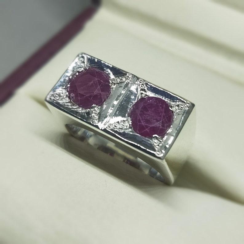 6 Carat Round 2 Stone Kabul Ruby Ring eye-catching Artisan Ring Pure Sterling Silver 925 Ring Handmade Ring Afgan Ruby Ring