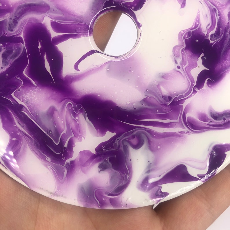 handmade decor Upcycled cd resin fluid art white and purple acrylic pour sustainable art