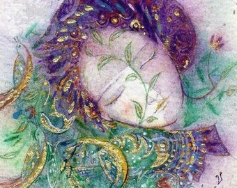 Dreaming Lady. Magical fine art print. Hand embellished. Mounted. Gold leaf. Fairy art. Fantasy.