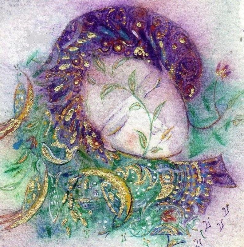 Dreaming Lady. Magical fine art print. Hand embellished. image 0