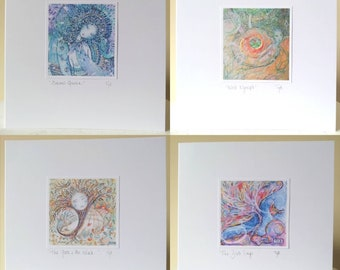 CARDS - 4 pack. Magical cards handmade to order, 15x15cm, with envelopes. Fairy tale. Sparkle.
