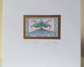 CARD - 'Tree of Life' Hand made card. Finished in gold watercolour. 15x15cm. Blank inside. Includes envelope. #tree