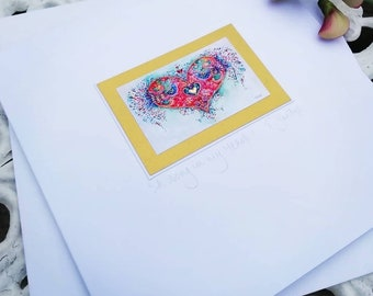 CARD - 'A Song in My Heart' 15x15cm. Blank or personalised. Includes envelope. Embellished.