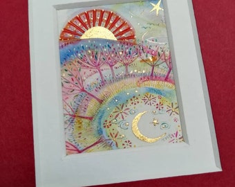 MINIATURE ORIGINAL PAINTING. Sun Rise and Moon to Sleep. Watercolour and gold leaf. Signed by the artist. Unframed. Fantasy. Moon art.