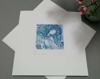 CARD - Snow Queen. Magical card handmade to order by the artist. 15x15cm, includes envelope.