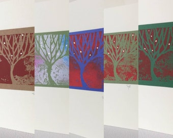 CARDS - 5 beautiful trees. Signed handmade cards. Blank inside. Nature, forest, tree art.