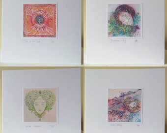 CARDS - 4 pack. Magical handmade cards to order, 15x15cm, with envelopes. Sparkle. Fantasy.