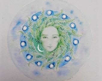 Green Lady - Beech, Oak and Ferns. Fine art print. Silver leaf. Hand finished. Signed. Unframed. Fantasy, myth, imaginary.