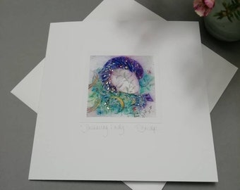 CARD - Dreaming Lady. Magical handmade card by the artist. 15x15cm, includes envelope.