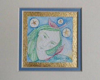 MINIATURE ORIGINAL PAINTING 'Green Woman, Stars & Birds'  Watercolour gold leaf. Mounted. Signed. Fairy art. Green Woman art. Nature art.