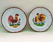 Pair of French Cockerel Plates