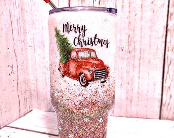 Custom Glitter Christmas Red Truck with Tree 30 OZ Tumbler