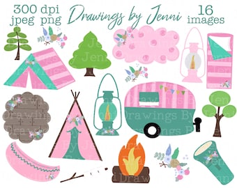 Outdoors art Hand Drawn Scenes Rv Clipart Nature Summer camping Planner needs Summer Clipart Camper Glamping CAMPING Scenes