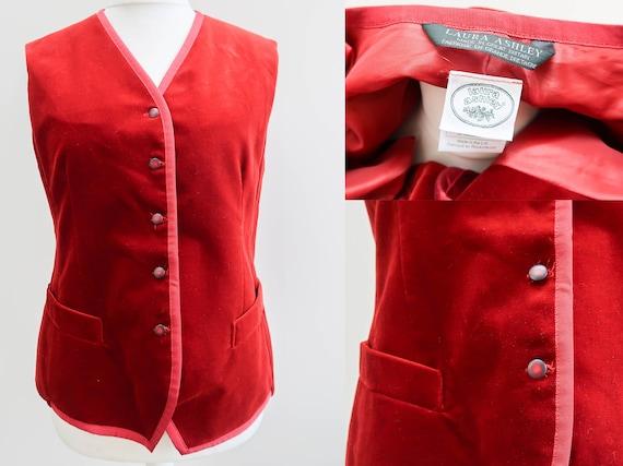 Red Velvet Waistcoat Size 16 Laura Ashley