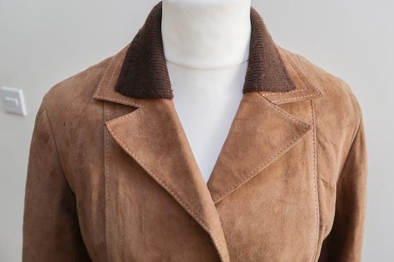 Size 16 Vintage Suede Jacket 70s Brown Coat Plus Size