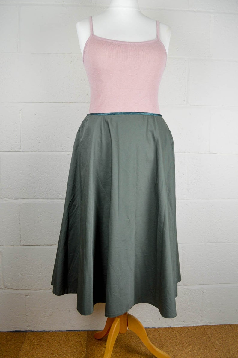 Midi Skirt Size 14 90s Green Circle Skirt 50s Style