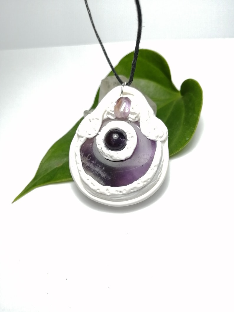 Amethyst polymer clay wiccan necklace.Protection amulet.Witchy jewelry.Protection amulet.Reiki necklace