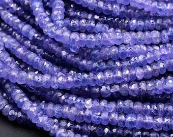Tanzanite Rondelle Bead Tanzanite Beads Tanzanite Facets Beads | 16 Inches Strand Tanzanite Faceted Rondelle Beads Strands
