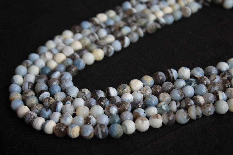 7-8 mm Natural Blue Opal Smooth Round Gemstone Beads,13 Strand Jewelry Making Craft Wholesale AAA Quality Blue Opal Beads Strand 45