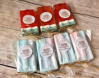 Popsicle Soaps - Watermelon Soaps & Cotton Candy Soaps   Handmade Artisan Dessert Soaps