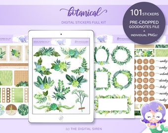 Botanical digital stickers full kit, plants and nature planner stickers pre cropped for goodnotes, individual PNG for notability, zoomnotes