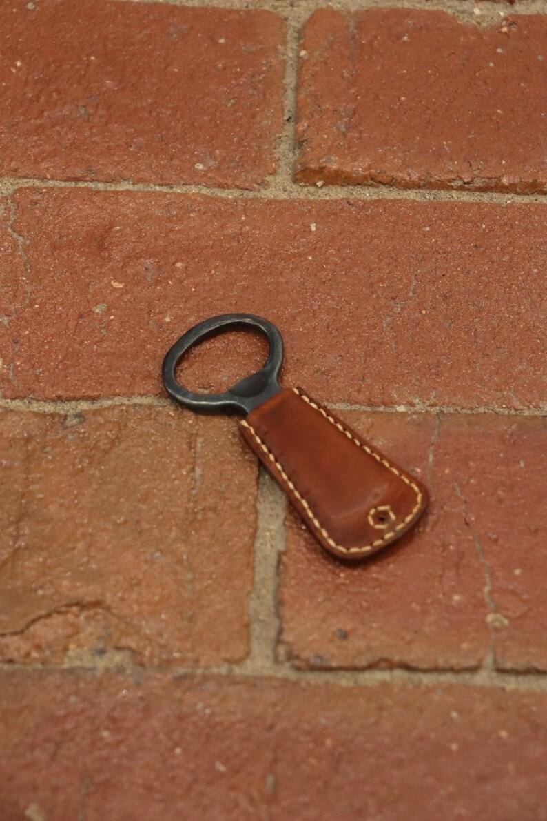Handmade Steel Bottle Opener Key Chain Leather Bottle Opener Leather-wrapped Forged Bottle Opener