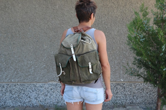Vintage Green Canvas Military Backpack, Hiking Bac