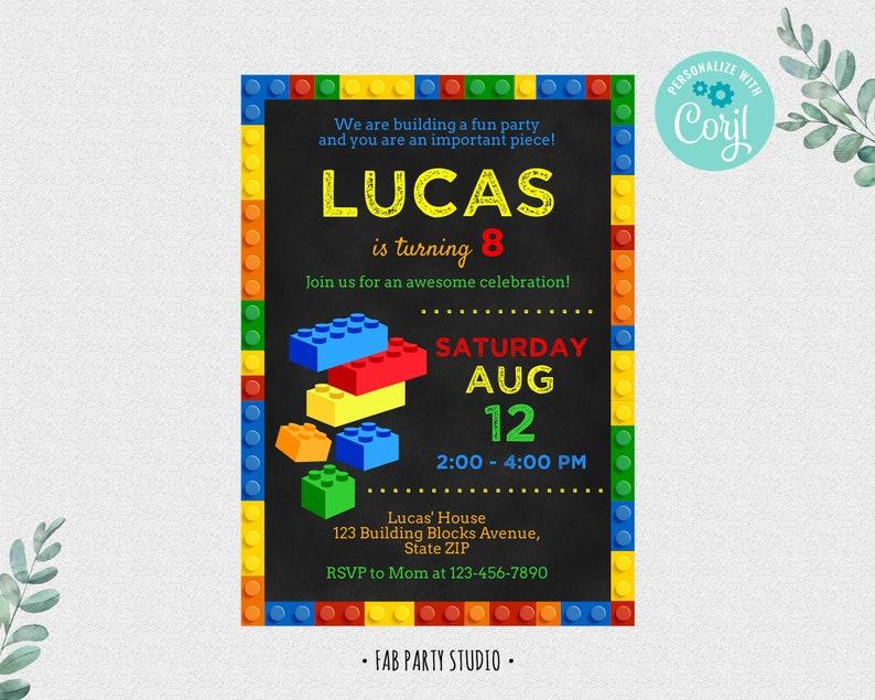 Building Blocks Birthday Party Invitation Colorful Invite image 1