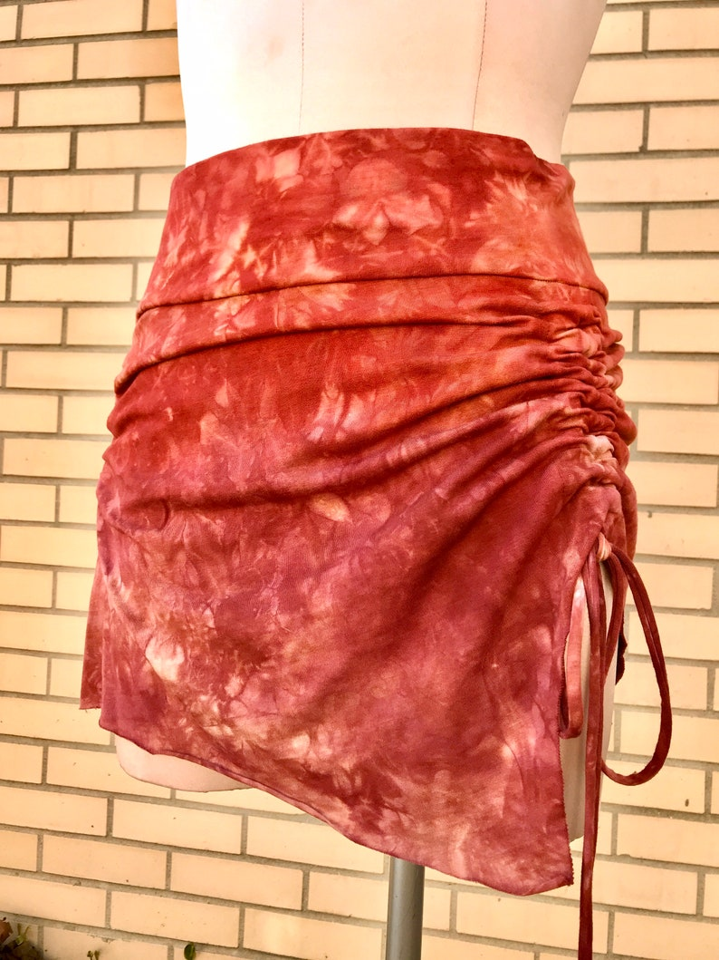 Kataya Skirt Multiple Color Options Organic Bamboo Stretch Jersey Hand-dyed Asymmetrical Cinched Mini Skirt with Adjustable Ties