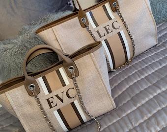 Personalized Monogram Tote Bag Canvas Customised Beige Brown White Chain Handbag Personalised Stripe Initials