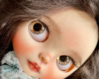 Blythe custom doll with natural hair ooak blythe tbl baby girl for adoption with blackhair green eyes realistic face
